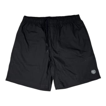 WORKING CLASS MONOGRAM EMBROIDERY BEACH SHORT - BLACK/SILVER
