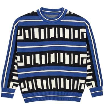 Polar Skate Co Square Logo Knitted Sweater - Blue / Black / Ivory