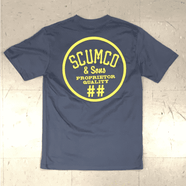Scumco and Sons Skateboards Logo T-Shirt Stone Blue