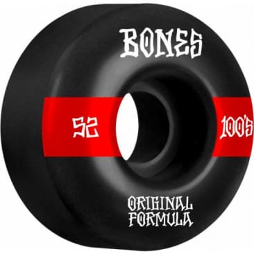 Bones V4 Wide OG Formula Skateboard Wheels 100 52mm Black