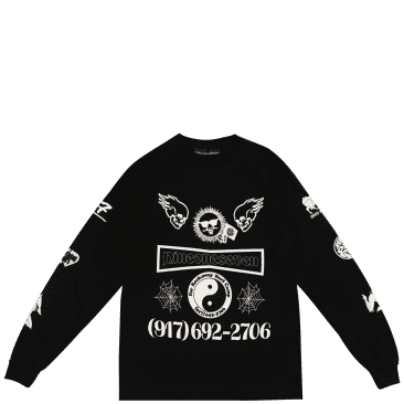 Call Me 917 Collage Long Sleeve T-Shirt - Black