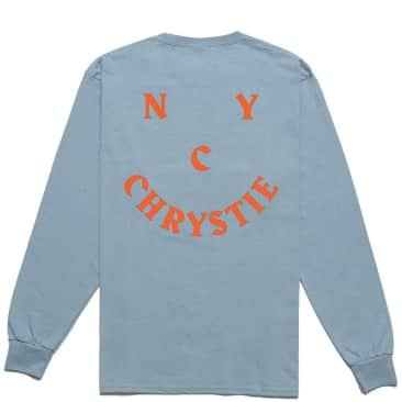 Chrystie NYC Smile Logo Long Sleeve T-Shirt - Stone Blue