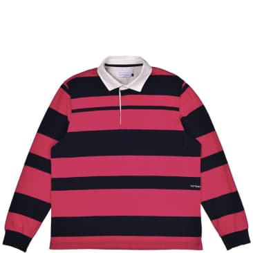 Pop Trading Co Striped Rugby Shirt - Pink / Navy