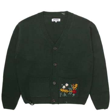 Fucking Awesome Distressed Flower Cardigan - Forest Green