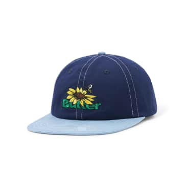 Butter 'Sunflower' 6 Panel Cap (Navy / Washed Blue)