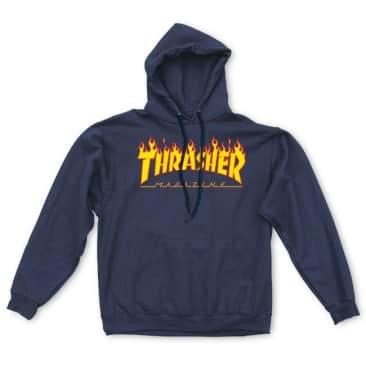 Thrasher Flame Logo Hoodie - Navy