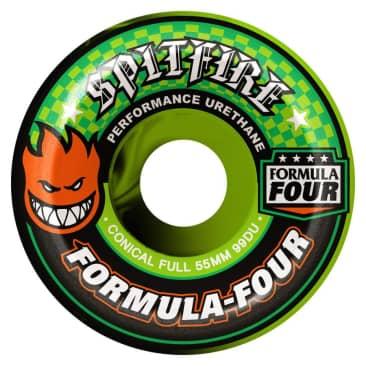 Spitfire Formula Four Conical Full 53mm 99A Wheels (Green Swirl)