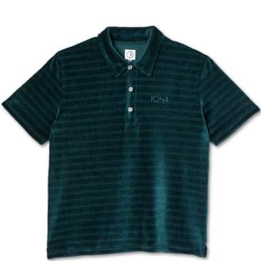 Polar Skate Co Stripe Velour Polo Shirt - Dark Green