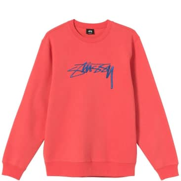 Stüssy Smooth Stock Embroidered Crew - Pale Red