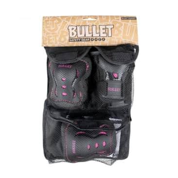 Bullet Junior Black v2 Triple Skateboard Pad Set - Black/Pink