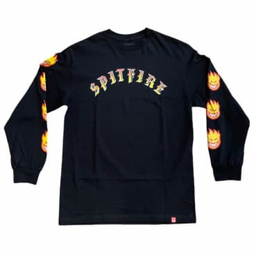 Spitfire Longsleeve Tee Old E Flame Silver Black