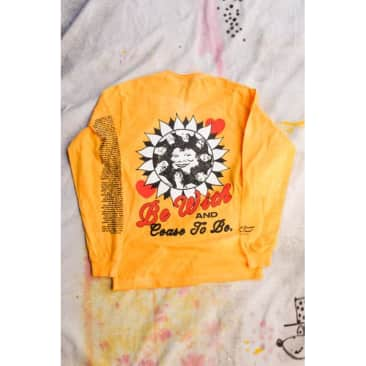 Cease 2 Be Long Sleeve T-shirt - Hand Dyed Yellow