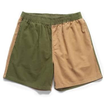 Blacksmith Corduroy Easy Shorts - Olive / Tan