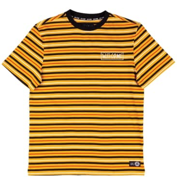 Welcome Skateboards Surf Stripe Knit T-Shirt - Gold / Black / Bone