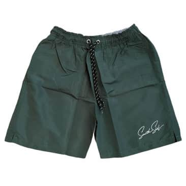 Southside Script Water Short Embroidered Forest Green