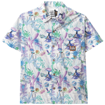 Real Bad Man Psychedelica Vacation Button Down Shirt - Green / Purple