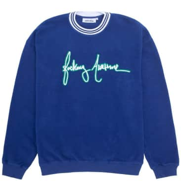 Fucking Awesome Cursive Crew Neck Sweater - Navy
