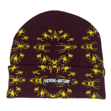 FUCKING AWESOME SPIDER STAMP CUFF BEANIE - MAROON