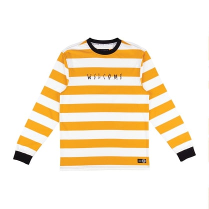 Welcome Skateboards Thicc Stripe Yarn Dyed Long Sleeve Knit T-Shirt - Gold / White