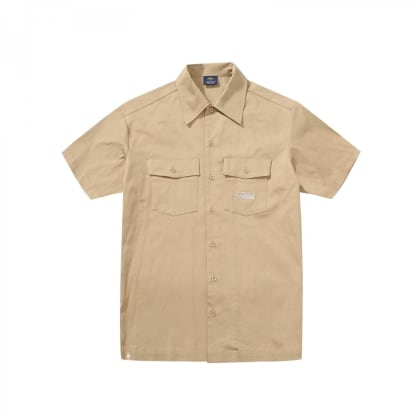 "HELAS PARIS - ""LOW RIDE BUTTON DOWN SHIRT"" (BEIGE)"