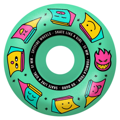 Spitfire - 51mm (99a) Skate Like A Girl Formula Four Skateboard Wheels - Ice Mint