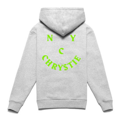 Chrystie NYC Smile Logo Hoodie - Heather Grey