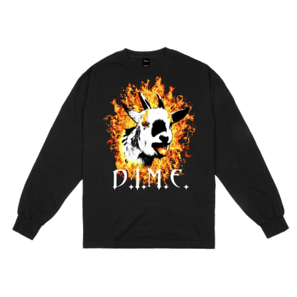 Dime Fire Goat Long Sleeve T-shirt - Black
