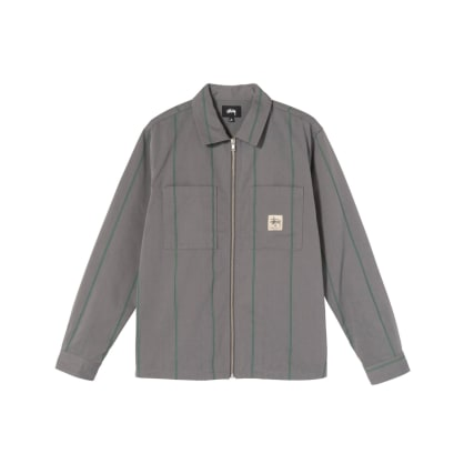 Stüssy - Full Zip L/S Shirt - Grey Stripe