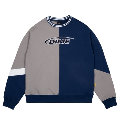 Dime French Terry Split Crew - Beige / Blue