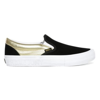 Vans x Shake Junt Slip-On Pro Shoes - Black/Metallic Gold/White