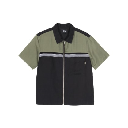 Stussy - Color Block Zip Work Shirt - Olive