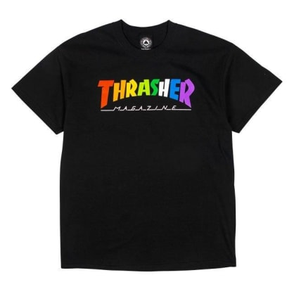 THRASHER Rainbow Mag Tee Black