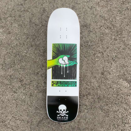 Death Skateboards Zarosh Hand Screened Heart White/Green Skateboard Deck - 9.00