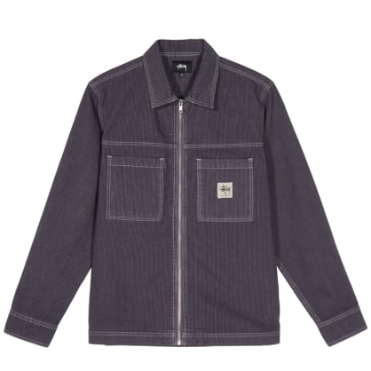Stussy Overdyed Hickory L/S Zip Shirt - Purple