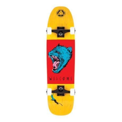 "Welcome Skateboards - 8.25"" Tasmanian Angel on Scale Down Nimbus 3000 Complete Skateboard - Yellow / Red / Blue"