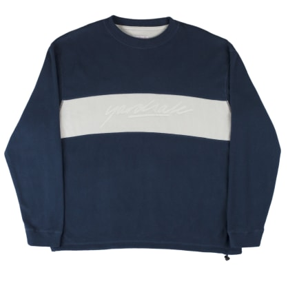 Yardsale Embossed Fleece Crewneck - Navy / White