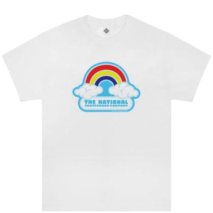 The National Skateboard Co Double Rainbow T-Shirt - White