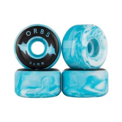 Welcome Skateboards - 56mm Orbs Specter Swirls 99a Wheels - Blue / White