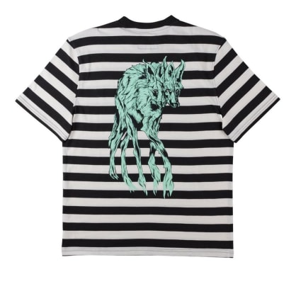 Welcome Maned Woof Yarn-Dyed Short Sleeve Knit T-Shirt - Black-Bone-Teal