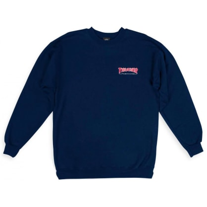 Thrasher Embroidered Outlined Crewneck - Navy Blue
