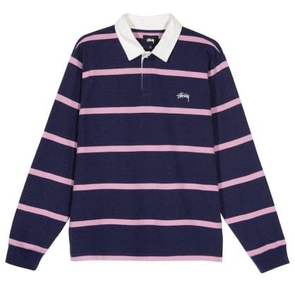 Stussy Hill Stripe L/S Rugby Shirt Navy