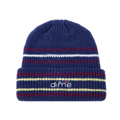 Dime Striped Beanie - Navy