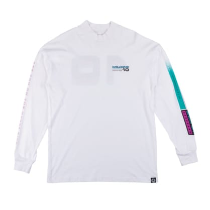 Welcome Skateboards Race Mockneck Long Sleeve T-Shirt (White)
