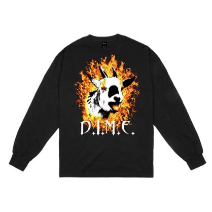 Dime Fire Goat Long Sleeve T-Shirt - Black