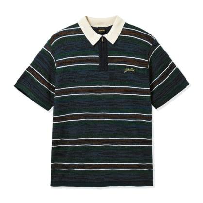 Butter Goods Schmidt Zip Polo Shirt - Navy / Forest / Brown