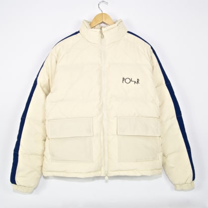 Polar Skate Co. - Stripe Puffer Jacket - Ivory / Navy