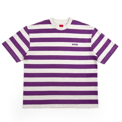 WKND Stripe T-Shirt - Heather Grey / Purple