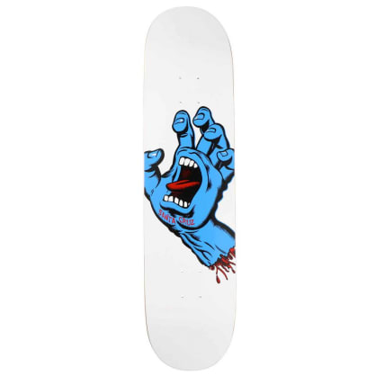 Santa Cruz Screaming Hand White Skateboard Deck - 8.25
