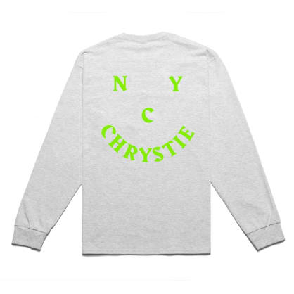 Chrystie NYC Smile Logo Long Sleeve T-Shirt - Heather Grey
