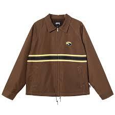 Stussy Stripe Zip Jacket Brown